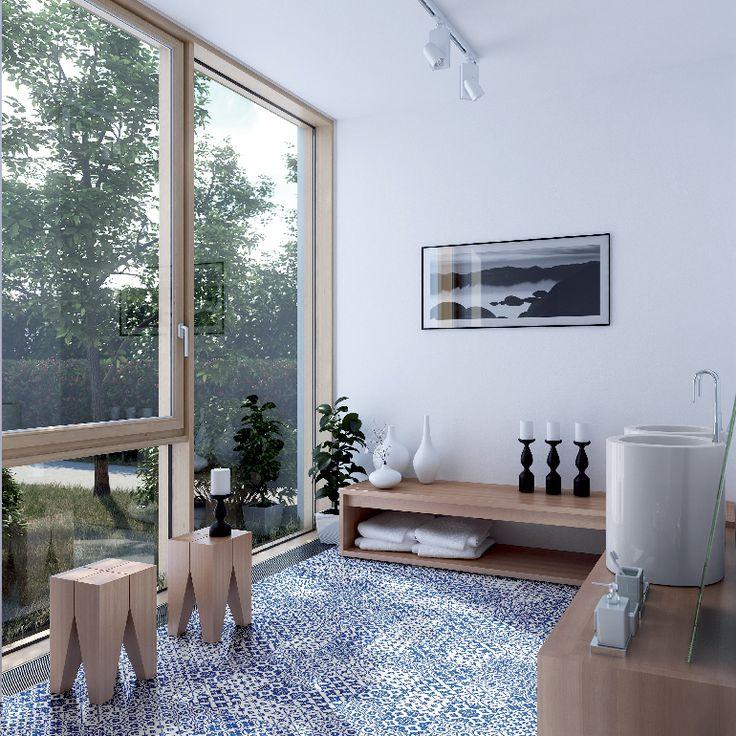 """Bon Ton Blue on White Base 20X20/8""""X8"""" #Bonton #feature #floor #wall"""