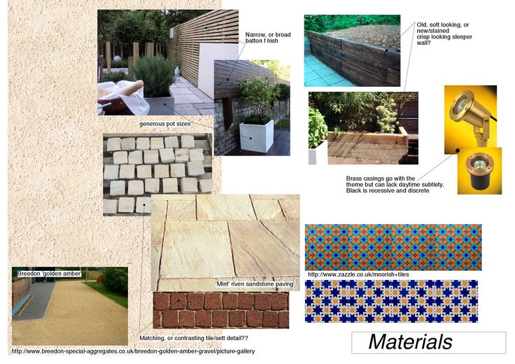 LK's hard landscaping mood board. Sandstone and pea shingle embrace some geometric elements of Moorish architecture to sit comfortably in an English garden.