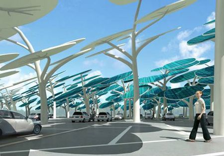 "Carpark with solar power ""trees"" to charge electric vehicles."