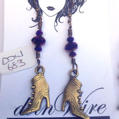 doinWire-DOW683 Earrings - vintage bronze tone witches boots and metallic purple/gold crystal beads.