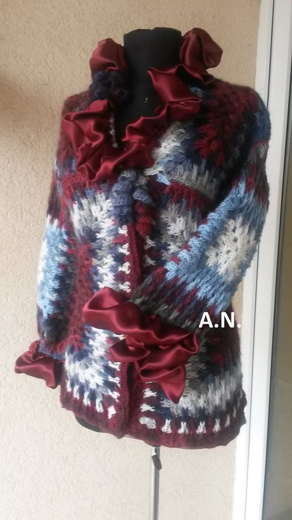 Colorful crochet cardigan with ruffle Crochet by AnnesMagicCrochet