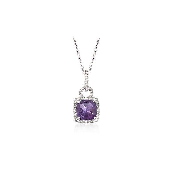 Ross-Simons 2.10ct Purple Amethyst Pendant Necklace, Diamonds in... ($65) ❤ liked on Polyvore featuring jewelry, necklaces, silver jewellery, silver necklace, silver amethyst necklace, purple pendant necklace and pendant necklace