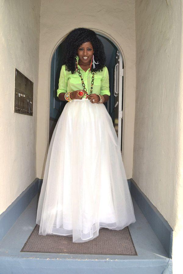 Style Pantry | Sheer Neon Shirt + Tulle Princess Skirt