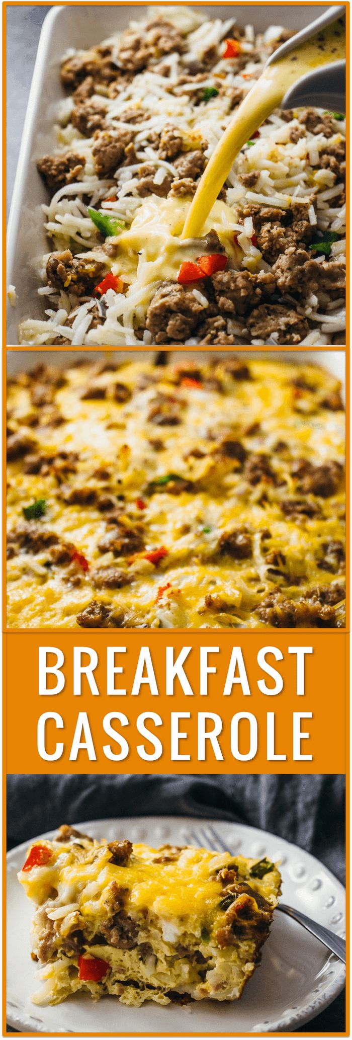 easy breakfast casserole, hash browns, overnight breakfast casserole, best breakfast casserole, sausage, bacon, biscuits, crescent rolls, healthy, brunch, cheddar cheese, eggs, milk, vegetables, recipe, idea via @savory_tooth