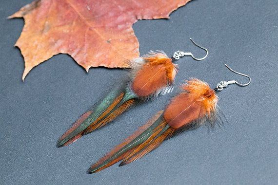 Autumn feather earrings native american by NatureFeatherJewelry