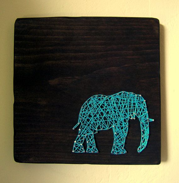 attempt to make? -- Modern String Art Wooden Tablet - Elephant SIlhouette. $25.00, via Etsy.