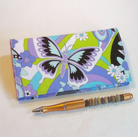 Butterflies Checkbook Cover for Duplicate Checks by QuiltSewCover