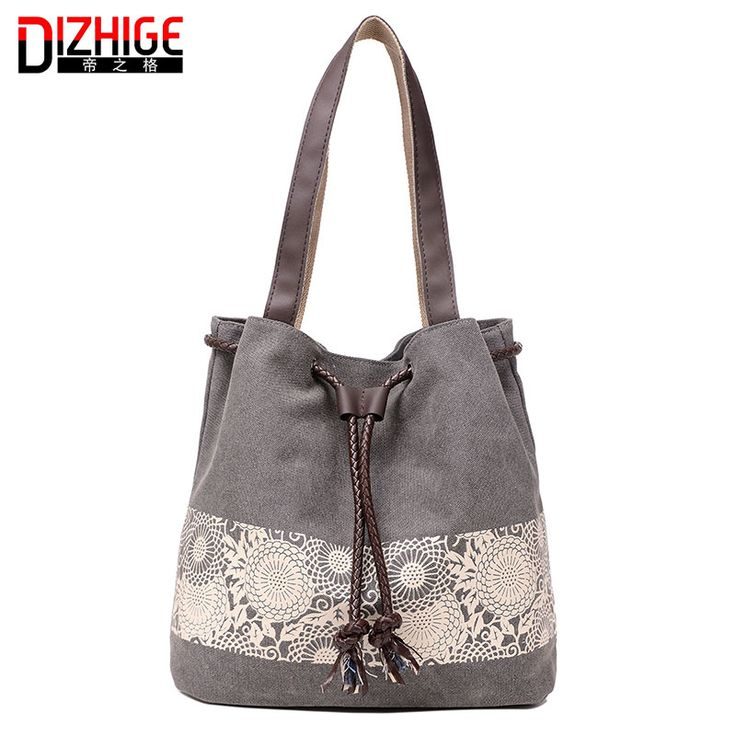 Women Floral Canvas Bucket Casual Shoulder Bag Spanish Beach Bags Women String Shopping Handbags Lace Printing Bag Female Bolso ** See this great product.