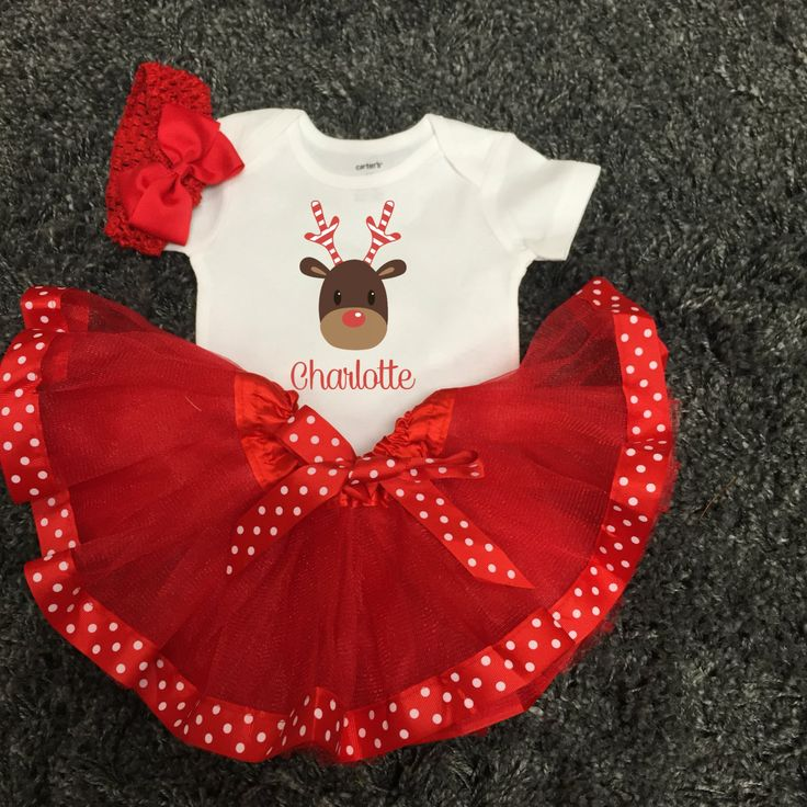 Personalized Cute Toddler Girls Christmas Outfit Christmas Tutu Outfit with Reindeer Candy Cane Polka Dot Christmas Dress Christmas Gift by FunMunchkin on Etsy