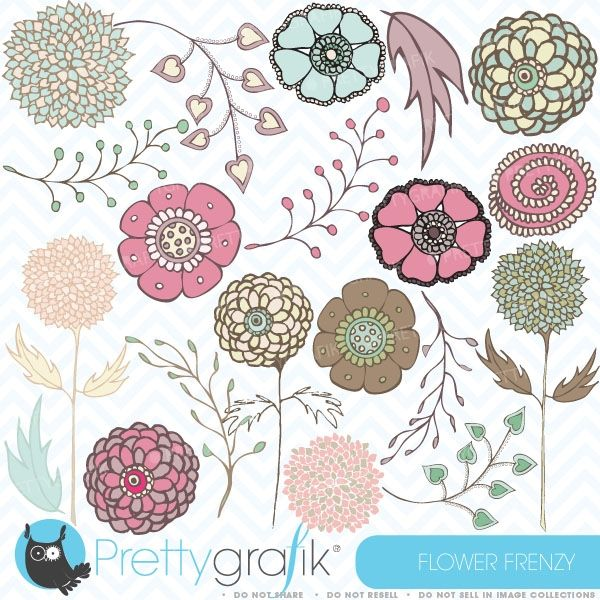 flower clipart decorate your favorite projects with 20 soft floral clip arts perfect for