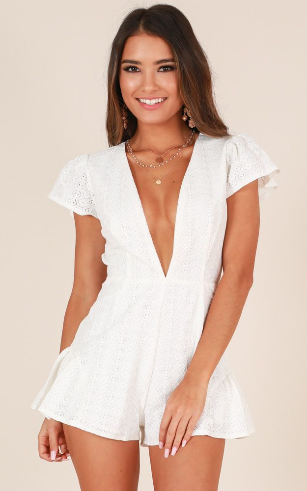 05a34b66571a Showpo Dream Babe Playsuit in white lace - 12 (L) Rompers   Jumpsuits