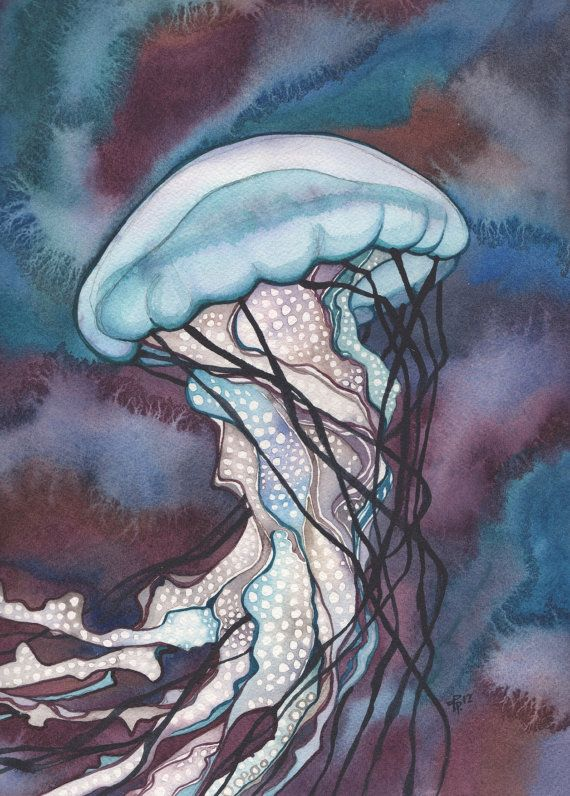 Sea Nettle JELLYFISH 5 x 7 print of detailed watercolour painting in whimsical vibrant deep purple mauve turquoise earth tones, marine sea