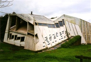 """Errante guest house, Chile This building, which looks like it is permanently on the brink of collapse, forms part of the """"Open City"""" in Ritoque, Chile—a settlement founded by artists in the 1970s"""
