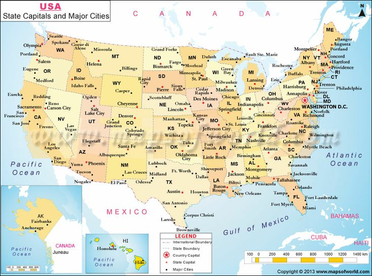 USA State Capitals and Major Cities Map practice writing