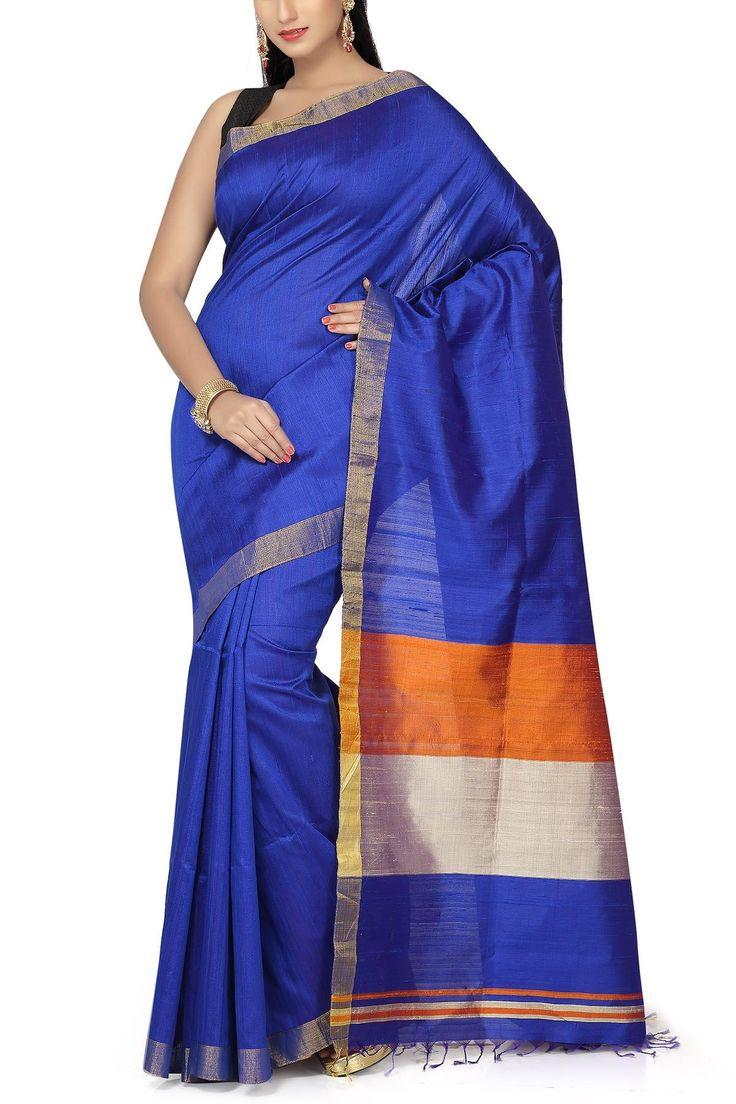 Blue & Orange Zari Border Pure Dupion Silk Saree
