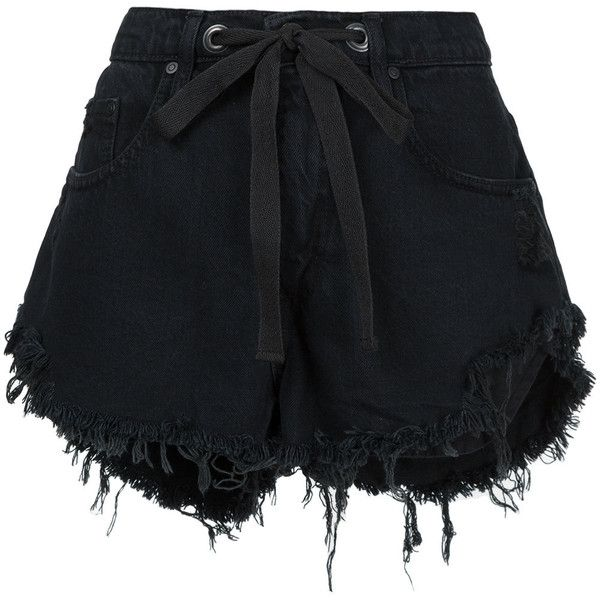 Nobody Denim Racer Short Eclipse (10,285 INR) ❤ liked on Polyvore featuring shorts, black, drawstring shorts, torn shorts, relaxed fit shorts, relaxed shorts and nobody denim