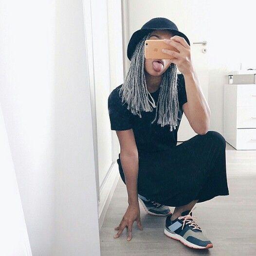 Grey box braids