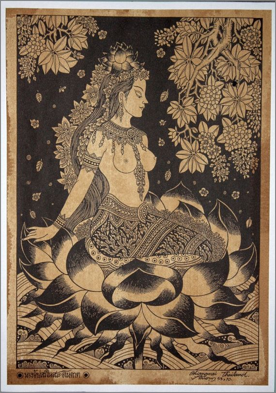 Thai traditional art of Apsara by silkscreen printing on sepia paper