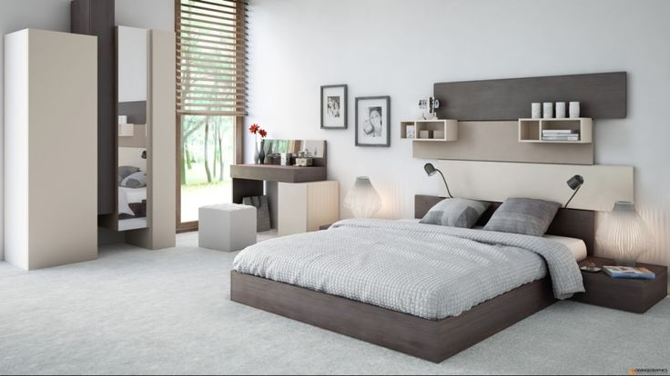 Bedroom:Modern Bedroom Design Ideas With Headboard Beds And Fresh Interior Design With Bedding Cushion Float Shelves Also Vanity And Table Lamps Also Mirror Cupboard And Carpet Its Sweet Bedroom Ideas Some Ideas of Modern Bedroom Design to Inspire You