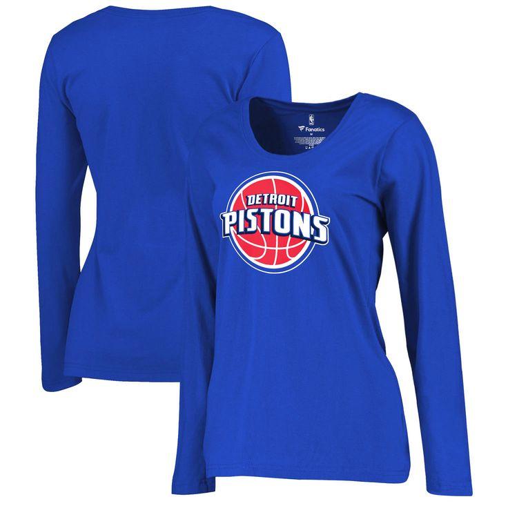 Detroit Pistons Women's Plus Sizes Team Primary Logo Long Sleeve T-Shirt -  Royal -