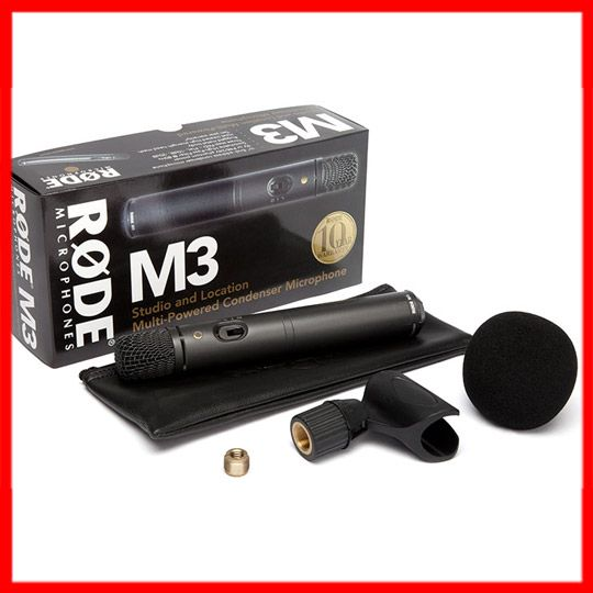 Rode M3 Microphone. Rode M3 is an extremely versatile microphone for studio, on location, or wherever a low-noise wide-response cardioid condenser microphone is demanded. The M3 also comes complete with windshield and a stand mount, and can be powered via a 9V battery or 24-48V Phantom.  $159 #rode #m3 #microphone #musiclab http://www.musiclab.com.au/product-info/rode-m3-dual-power-condenser-microphone/