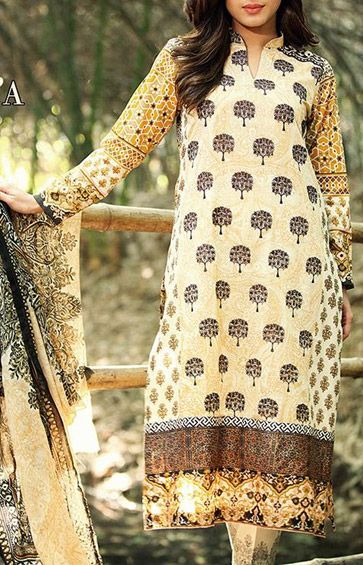 Buy Beige Embroidered Cotton Lawn Dress by RajBari Spring Summer Vol.1 2015.