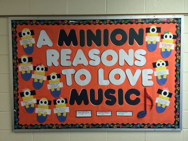 So this is a bulletin board that I made for the elementary school I was student teaching at. I went around and asked the students K-5 what they loved about music, and the Minions are holding the students' responses! They love it!