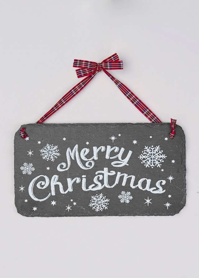 Christmas Slate Sign (11cm x 20cm) View 1