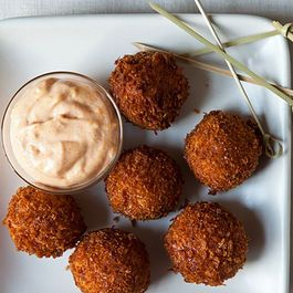 ham and manchego croquets with a pimenton aioli