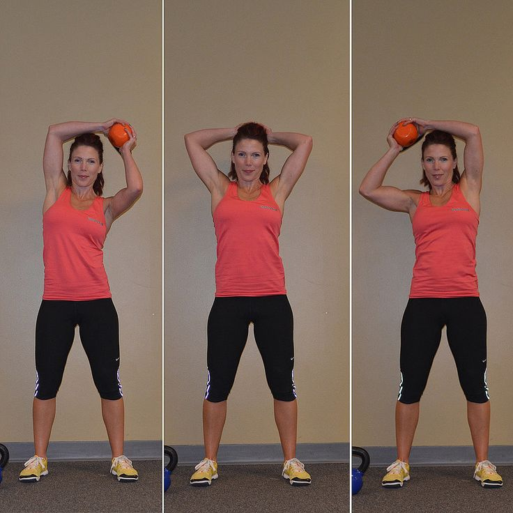 This five-move kettlebell workout will torch tons of calories. When learning these exercises, it's important to start with a light weight first, such as a five- or 10-pound kettlebell. You can increase the amount of repetitions as you become stronger, but first focus on your form and only increase the weight after you can do 20 reps of these moves correctly with a lighter weight.  Source: KettleWorx