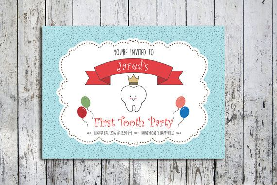First Tooth invitation card digital file boy or girl by nhlcards