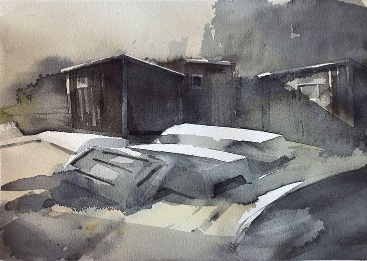 'Väntan på våren' / 'Waiting for Spring', watercolor by Magnus Petersson, 2017.