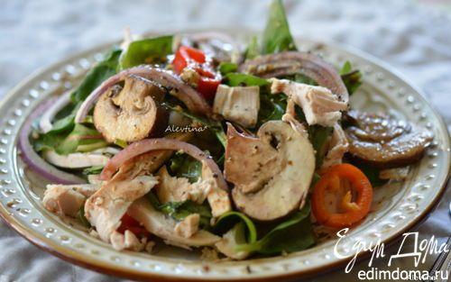 Салат с шампиньонами и курицей с бальзамической заправкой | Кулинарные рецепты от «Едим дома!»