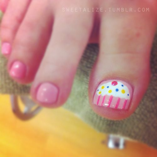 For my Girl- Cupcakes! Over OPI's Pink Friday from the Nicki Minaj collection.   #nailart #naildesign #pink #cupcake #opi #pedicure #nails