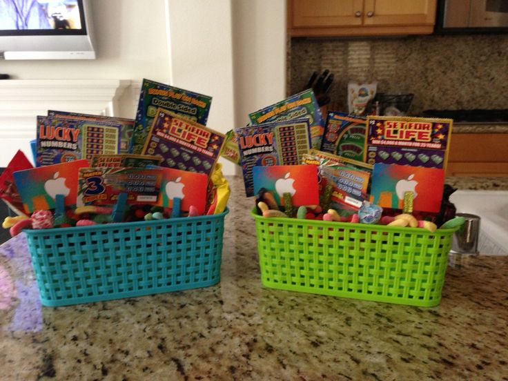 101 best easter basket ideas images on pinterest gift ideas just made teenage boy easter baskets filled with candy itunes and lotto tickets negle Gallery