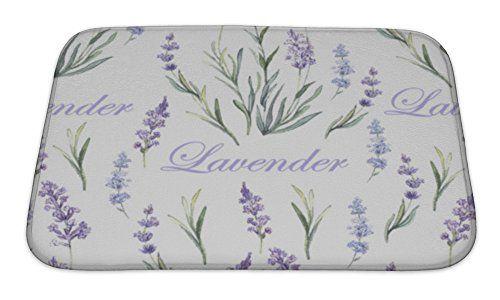 Gear New Bath Rug Mat No Slip Microfiber Memory Foam White Watercolor Lavender Botanical Pattern 24x17