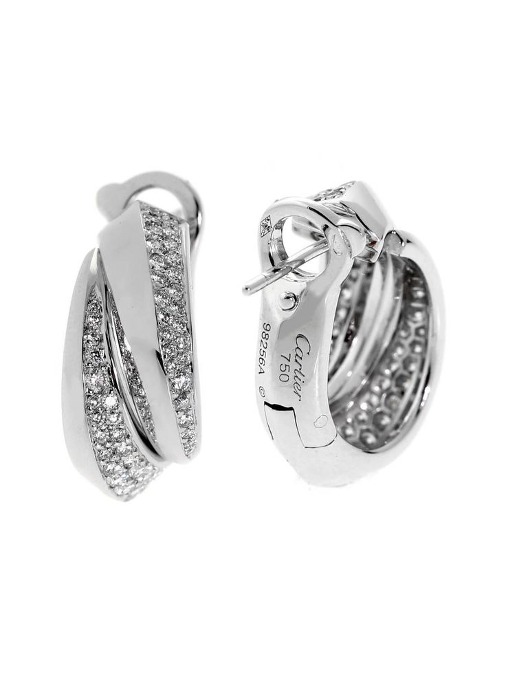 Cartier Panthere Diamond White Gold Earrings | From a unique collection of vintage lever-back earrings at https://www.1stdibs.com/jewelry/earrings/lever-back-earrings/