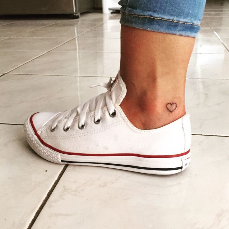 Small tattoo heart ankle