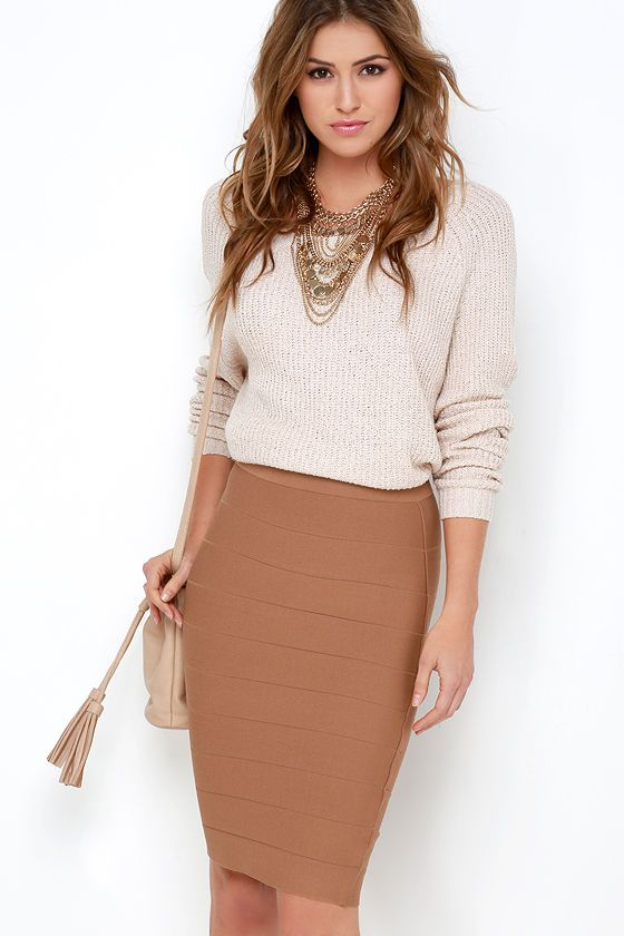 Beyond Words Brown Bandage Midi Skirt//