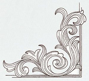 An acanthus leaf corner motif, lovely! * * * Miniature Menagerie Engraved Corner design (UT6540) from UrbanThreads.com