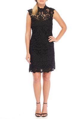 Laundry By Shelli Segal Women's Sleeveless Mock Neck Venise Lace Dress - Black - 14