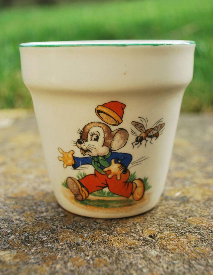Woods Ware 1920s Childs Nursery Cup/Beaker/Flower Pot - Christening   # 416