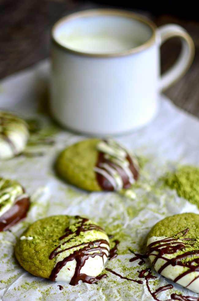 Matcha Green Tea Chocolate Dipped Sugar Cookies! I love the unique flavor of these cookies!