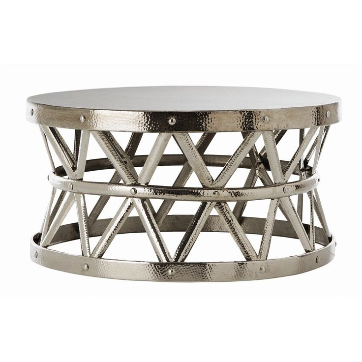 Hammered Coffee Table Tray: Hammered Drum Cross Silver Coffee Table