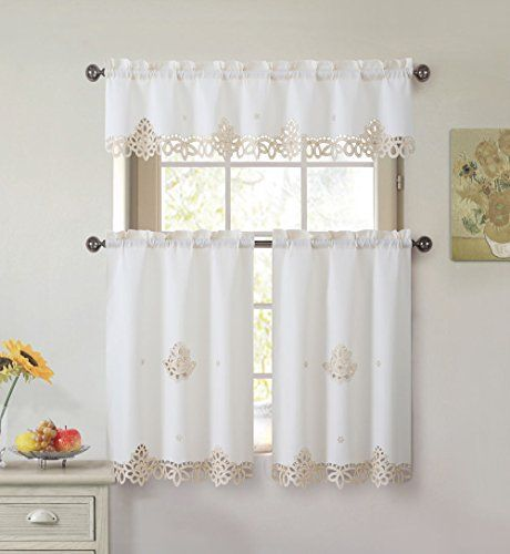 Marvelous Royal Beige Cream And Gold Embroidered Floral 3 Pc Kitchen Curtain Set *  You Can Get