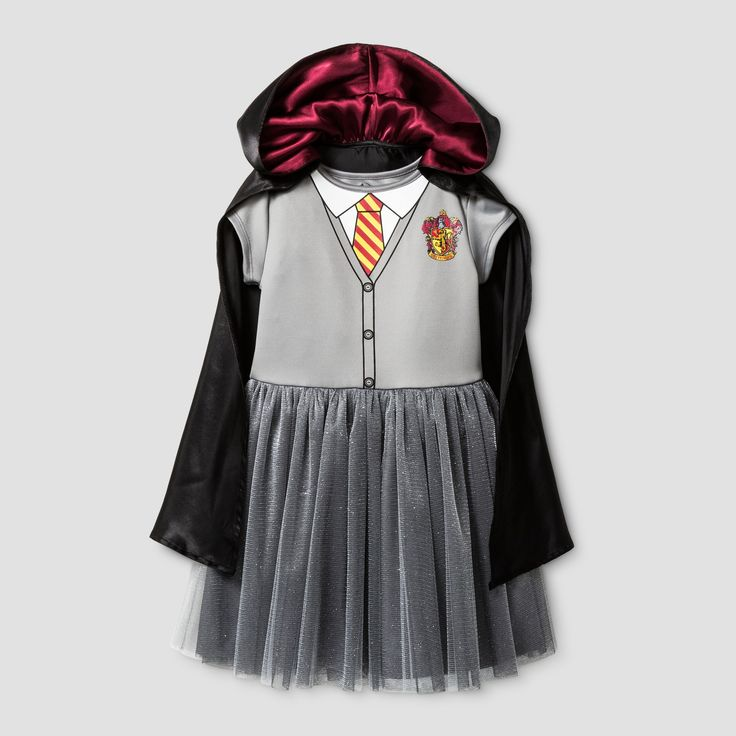 Little wizards and witches alike will dazzle in this breezy two-piece Harry Potter Costume Dress. This soft grey dress comes in an easy pullover fit and features the Gryffindor tie and lion, while the black detachable cloak is decorated with the Hogwarts crest. She'll love this beautiful and carefree costume with a sparkling skirt for an extra touch of magic.