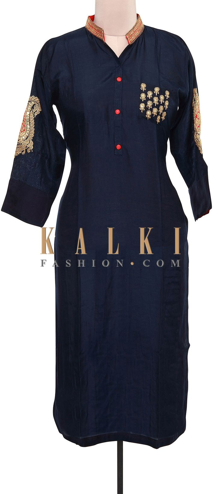 Buy Online from the link below. We ship worldwide (Free Shipping over US$100). Product SKU - 309240.Product Link - http://www.kalkifashion.com/navy-blue-kurti-adorn-in-sleeve-embroidery-only-on-kalki.html