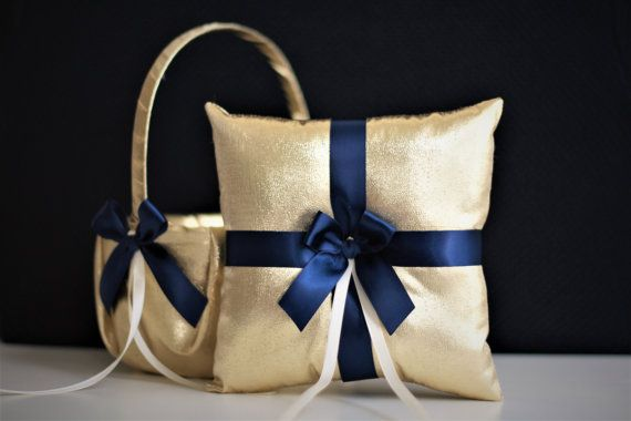 Gold Navy wedding basket Ring Bearer Pillow Navy by AlexEmotions