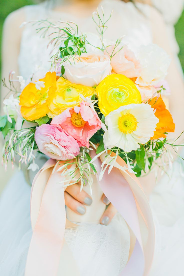 yellow, pink, and orange bouquet | Photography: Avec Lamour Photography - www.aveclamourphotography.com: Inspiration, Wedding Ideas, Weddings, Colors, Wedding Flowers, Pink, Yellow, Spring, Orange Wedding Bouquets