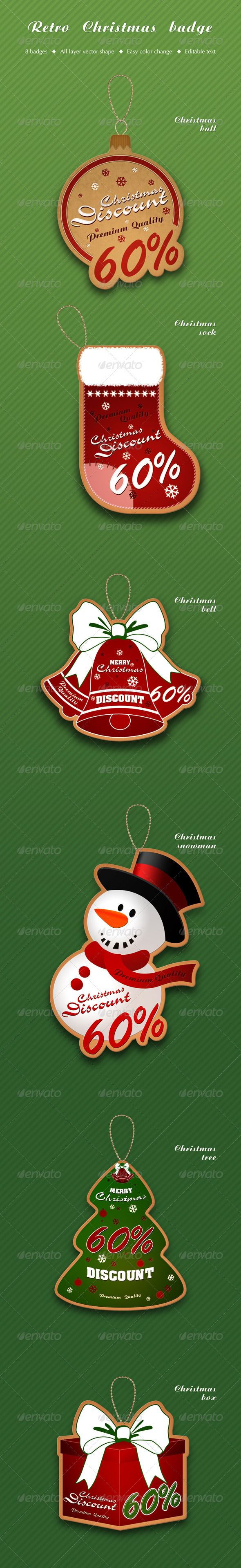 Retro Christmas badge  #GraphicRiver        Retro Christmas Badge This set includes 6 badges in a retro style with a Christmas theme. Color is easily changed, so that you can make your color badge. All badges are made up of vector elements, so that you can change all the badge, you can convert to CMYK and print.  	 All files are fully structured, the layers are named and are divided into folders.  	 Texts editable, they were not converted to outlines for your convenience. All fonts used are…